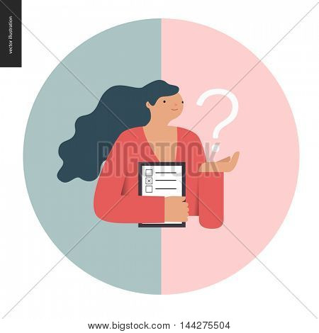 Survey icon in a circle. Flat vector cartoon illustration of a woman holding the question sign and a clipboard with the checklist on it.