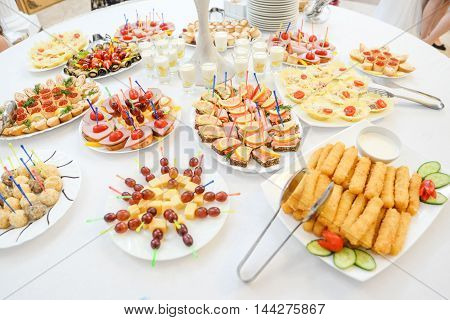 catering canapes food at the wedding Banquet