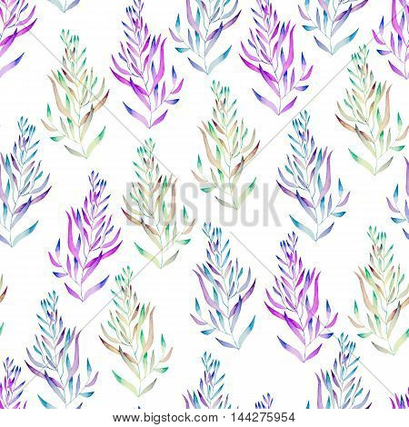 A floral seamless pattern with the green, brown, bright purple and blue watercolor plants, seaweeds on a white background