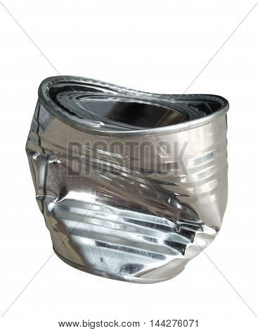 Crumpled tin cans isolated on white background with clipping path