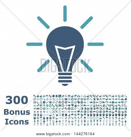 Electric Light icon with 300 bonus icons. Vector illustration style is flat iconic bicolor symbols, cyan and blue colors, white background.
