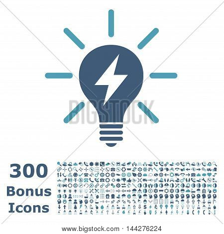 Electric Light Bulb icon with 300 bonus icons. Vector illustration style is flat iconic bicolor symbols, cyan and blue colors, white background.