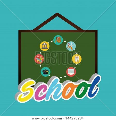 board paint building colors cap computer diploma scissor back to shool education  icon set. Colorful and flat design. Vector illustration