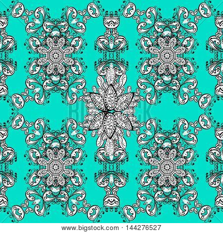 Oriental seamless pattern of mandalas. Vector blue and green background.