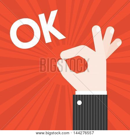 Okay Hand sign vector with sun burst background and text OK, approve and confirm concept, flat design
