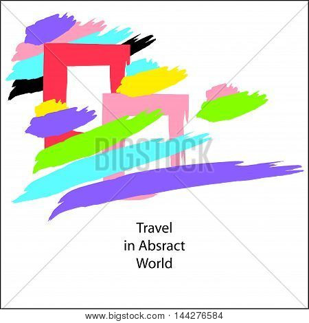 Trend Creative modern Abstract background made by hand draw  brushes full colors on white or concept travel in abstract world  illustration abstract windows clouds