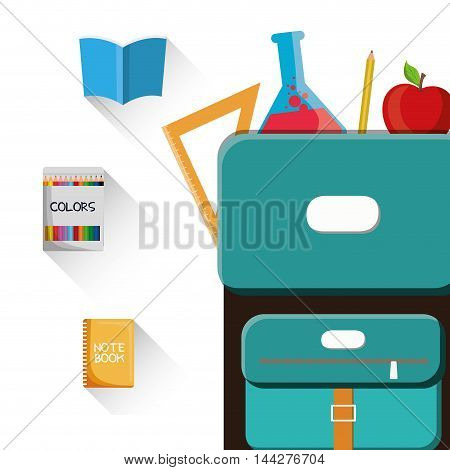 bag book flask apple back to shool education  icon set. Colorful and flat design. Vector illustration
