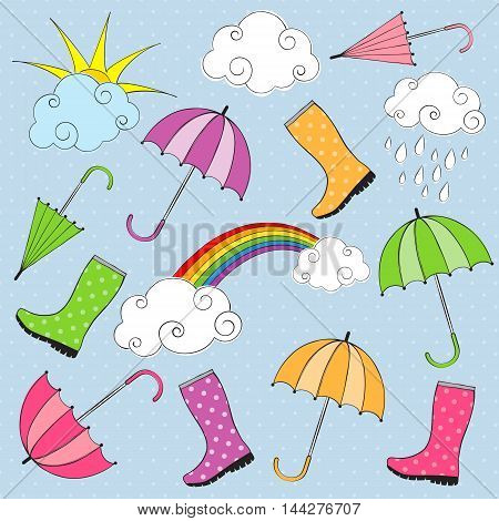 Vector colorful doodle rainy day set with boots and umbrellas