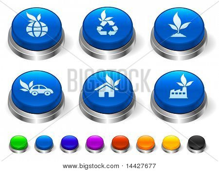 Ecology Icon on 3D Button with Metallic Rim Collection Original Illustration