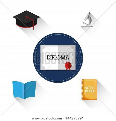 graduation cap book diploma microscope back to shool education  icon set. Colorful and flat design. Vector illustration