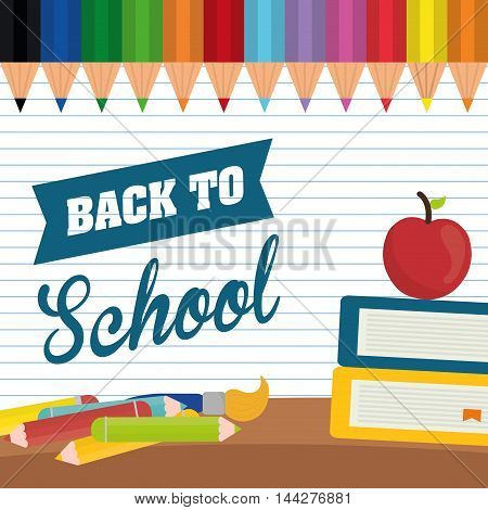 books apple colors brush back to shool education icon set. Colorful and flat design. Vector illustration