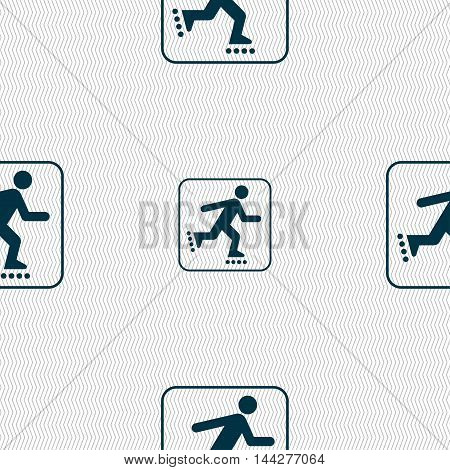 Roller Skating Sign. Seamless Pattern With Geometric Texture. Vector
