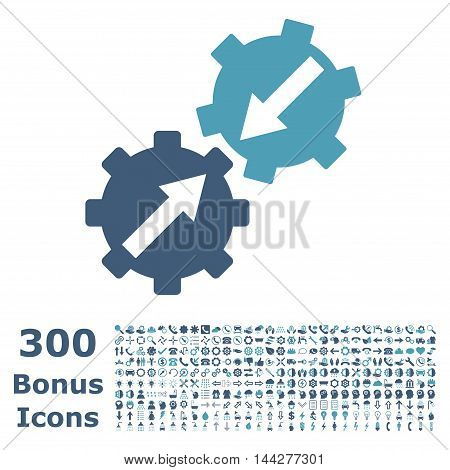 Gear Integration icon with 300 bonus icons. Vector illustration style is flat iconic bicolor symbols, cyan and blue colors, white background.