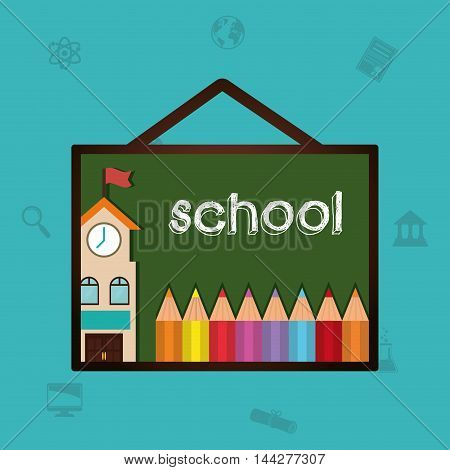 building colors back to shool education  icon set. Colorful and flat design. Vector illustration