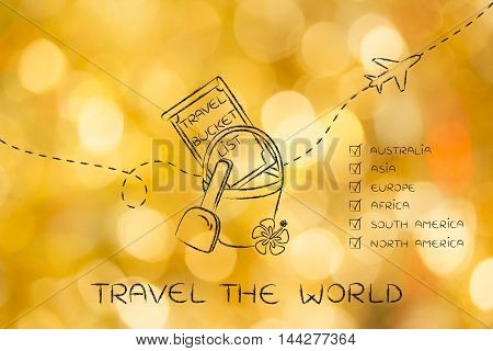 Bucket List Of Travel Destination, With Continents Ticked Off
