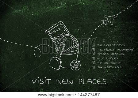 Bucket List Of Travel Destination, With Trip Types Ticked Off