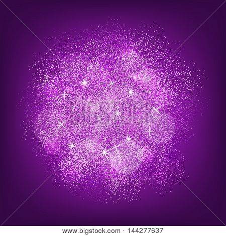 Violet glitter splash on violet background. Vector illustration.