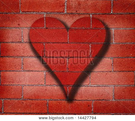 Heart Graffiti On Brick Wall