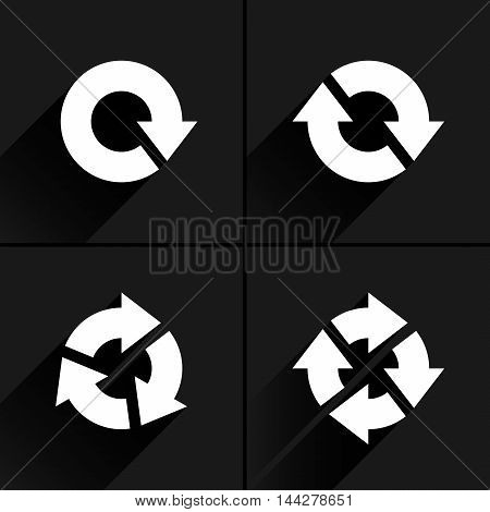 4 white arrow loop, refresh, reload, rotation icon. Volume 04. Flat icon with black long shadow on gray background. Simple, solid, plain, minimal style. Vector illustration web design elements 8 eps