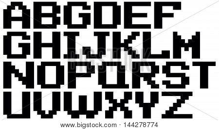 A vector illustration of English black pixel alphabet set