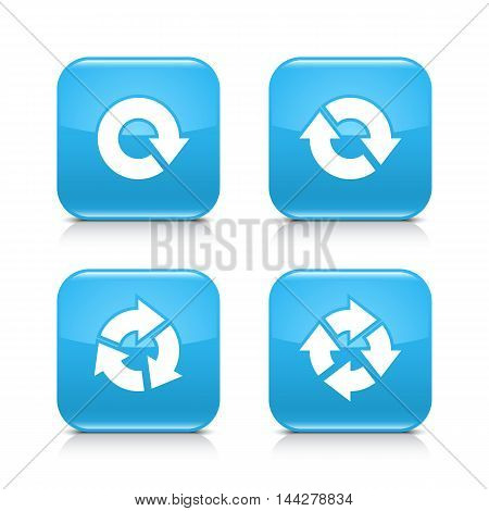4 arrow icon. White repeat, reload, refresh, rotation sign. Set 04. Blue rounded square button with gray reflection, black shadow on white background. Vector illustration web design element in 8 eps