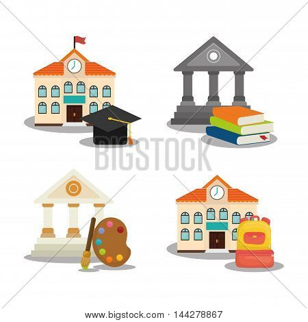 building cap paint bag books back to shool education icon set. Colorful and flat design. Vector illustration