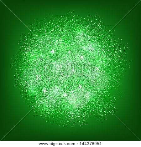 Green glitter splash on green background. Vector illustration.