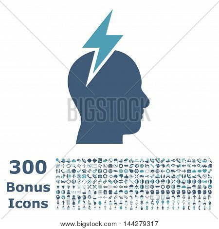 Headache icon with 300 bonus icons. Vector illustration style is flat iconic bicolor symbols, cyan and blue colors, white background.