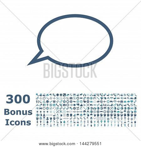Hint Cloud icon with 300 bonus icons. Vector illustration style is flat iconic bicolor symbols, cyan and blue colors, white background.