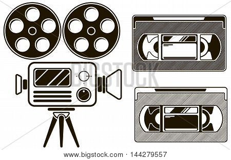 A vector illustration of Movie black icon set on white background