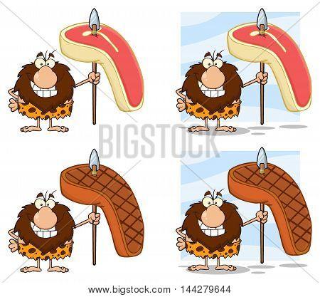 Funny Male Caveman Cartoon Mascot Character 5. Collection Set