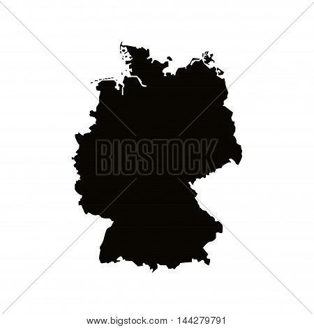 flat design germany map silhouette icon vector illustration