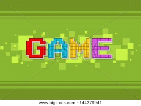 A vector illustration of Pixel computer color game text screen on green background