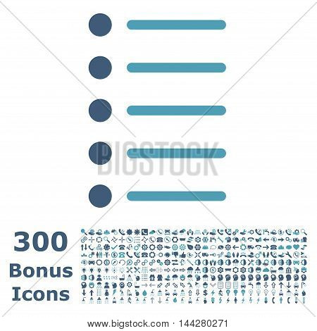 Items icon with 300 bonus icons. Vector illustration style is flat iconic bicolor symbols, cyan and blue colors, white background.