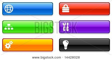 Internet Icons on Long Button Collection Original Illustration