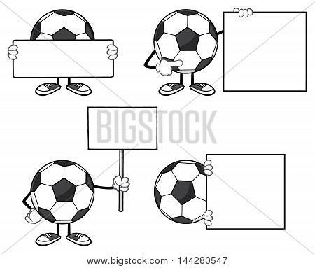 Soccer Ball Faceless Cartoon Mascot Character 2. Collection Set Isolated On White Background