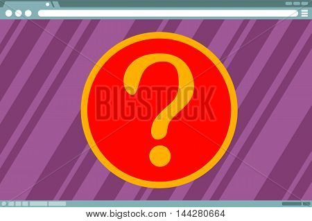 A vector illustration of Question mark in frame on computer screen