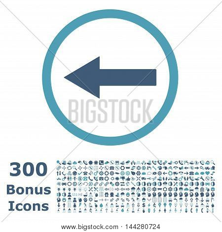 Left Rounded Arrow icon with 300 bonus icons. Vector illustration style is flat iconic bicolor symbols, cyan and blue colors, white background.