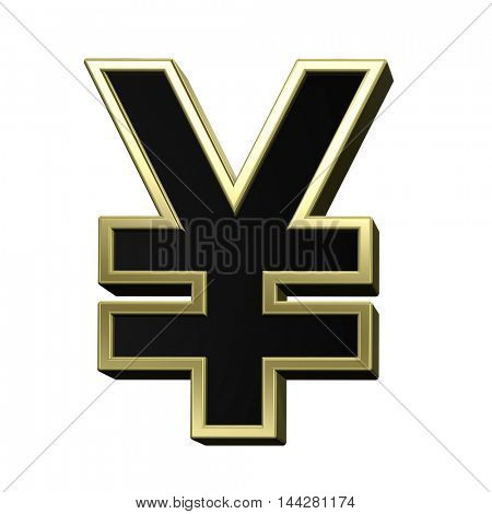 Yen sign from black with shiny gold frame alphabet set, isolated on white. 3D illustration.