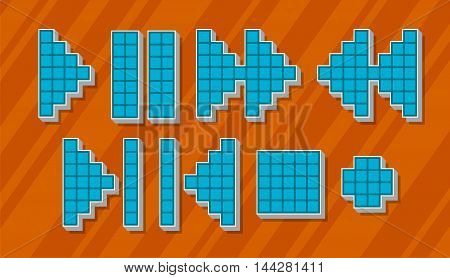 A vector illustration Set of different blue pixel icons and symbols for player