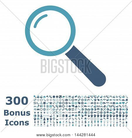 Magnifier icon with 300 bonus icons. Vector illustration style is flat iconic bicolor symbols, cyan and blue colors, white background.