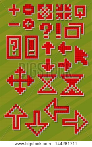 A vector illustration Set of different red pixel font symbols