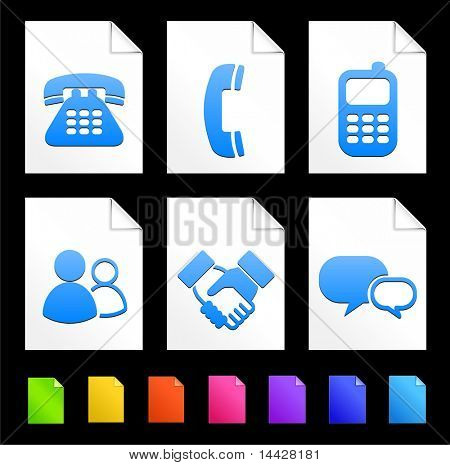 Communication Icons on Colorful Paper Document Collection Original Illustration