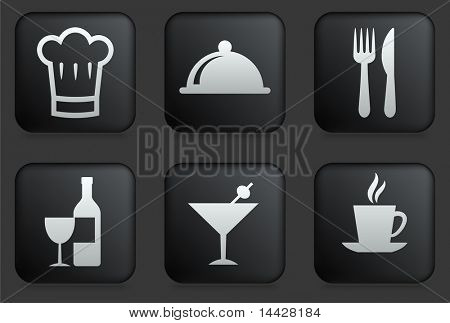 Restaurant Icons on Square Black Button Collection Original Illustration