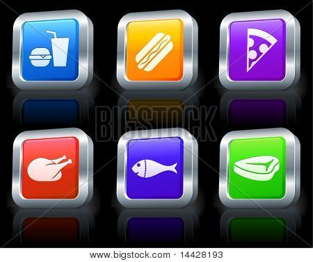 Fast Food Icons on Square Button Collection with Metallic Rim Original Illustration