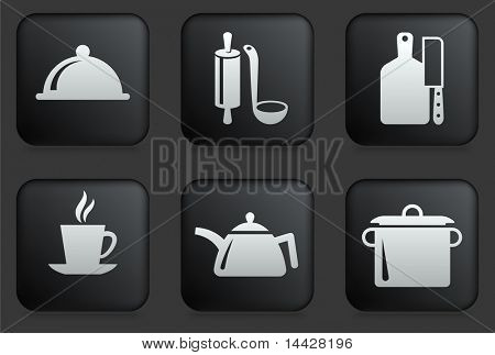 Food Preperation Icons on Square Black Button Collection Original Illustration