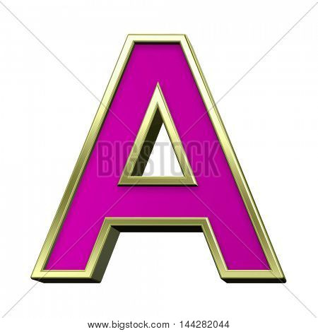 One letter from pink with gold shiny frame alphabet set, isolated on white. 3D illustration.