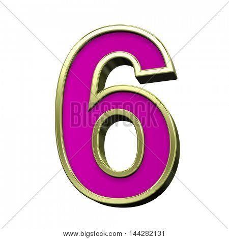 One digit from pink with gold shiny frame alphabet set, isolated on white. 3D illustration.