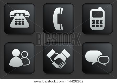 Communication Icons on Square Black Button Collection Original Illustration