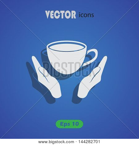 Cup in his hand. Vector icon for web and mobile
